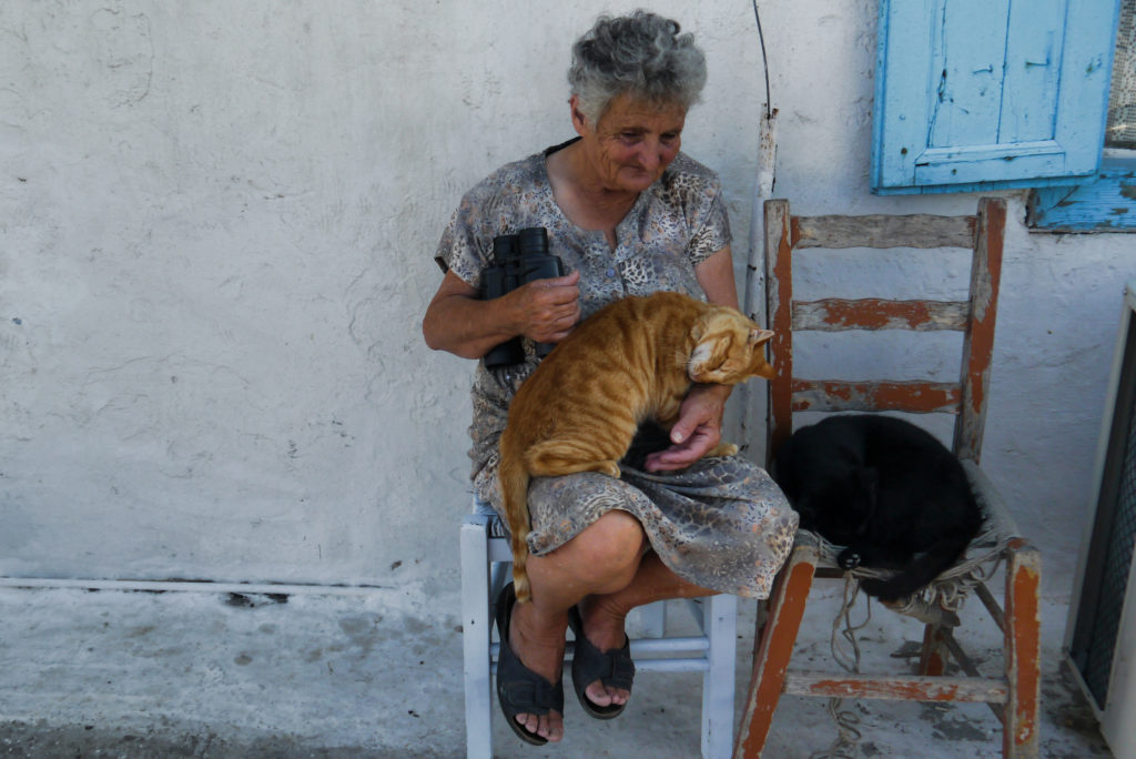 Amorgos - woman with cats